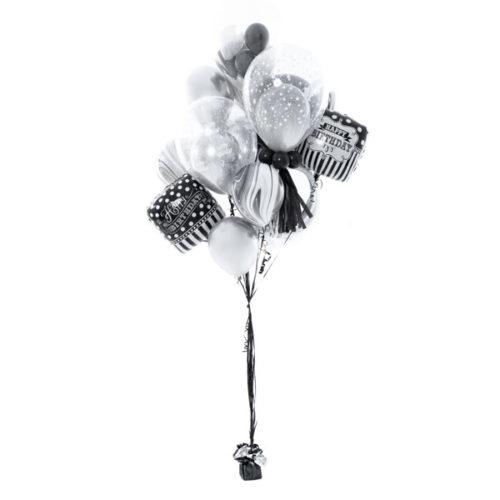 Фонтан из шаров на День рождения Черный и Белый Мнини
