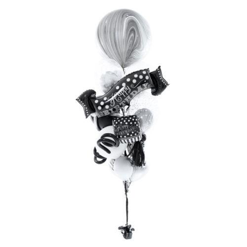 Фонтан из шаров на День рождения Черный и Белый Средний