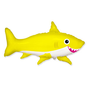 Шар 105 см Фигура Акула веселая желтая