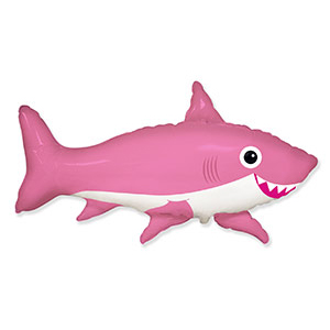 Шар 105 см Фигура Акула веселая розовая