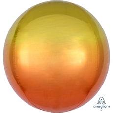 Шар 41 см 3D СФЕРА Омбре Желто-оранжевый