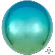 Шар 41 см 3D СФЕРА Омбре Зелено-голубой