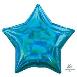 Шар 46 см Звезда Переливы Cyan Голубой