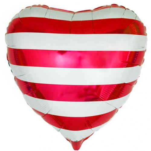 Шар 46 см Сердце Красные полосы