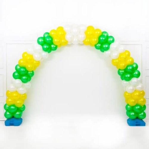 Арка плетеная из шаров Белый Желтый Зеленый Слои