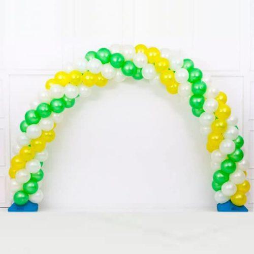 Арка плетеная из шаров Белый Зеленый Желтый Витая