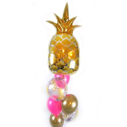 Связка из шаров Ассорти и золотой Ананас