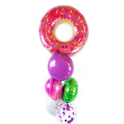 Связка из шаров Ассорти и розовый Пончик