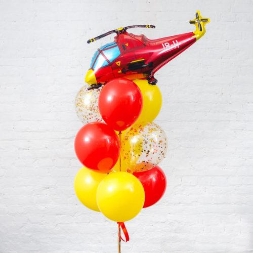 Связка из шаров Желтый и Красный с вертолетом