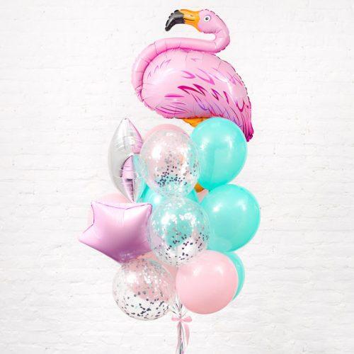 Связка из шаров Мятный и Розовый с Фламинго