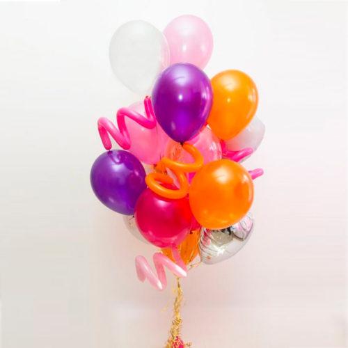 Связка из шаров Розовый Фиолетовый и Оранжевый со Спиральками