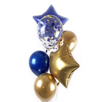 Связка из шаров Синий и Золото Хром