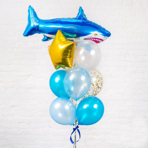Связка из шаров с Акулой Голубой и Прозрачный