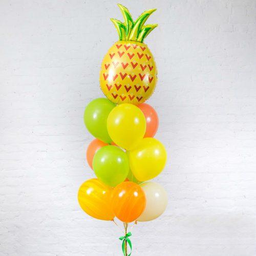 Связка из шаров с Ананасом Желтый Оранжевый и Лайм
