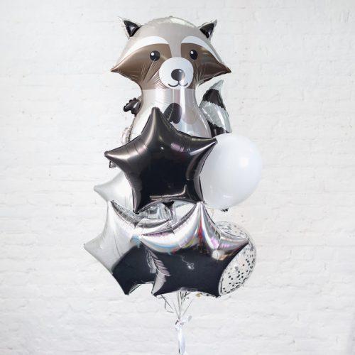 Связка из шаров с Енотом Черный и серебро