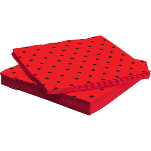 Салфетки 33 х 33 см Божья коровка Красный 20 штук