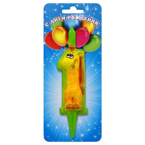 Свеча Цифра 1 Жираф 9 см 1 штука