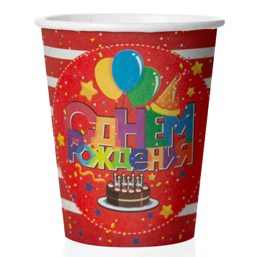 Стакан 250 мл Днем Рождения Торт и шарики Красный Белый 6 штук