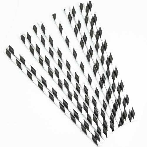 Трубочки для коктейлей Полосы Черный Белый 12 штук