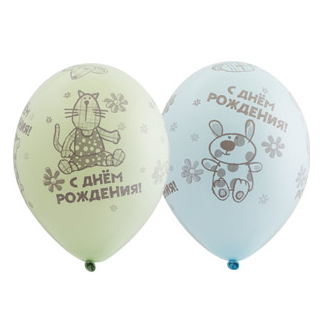 Шар 30 см ДР Зверюшки-игрушки Ассорти Пастель