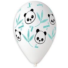 Шар 30 см Панда Бамбук листья Белый Пастель