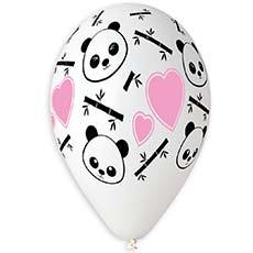Шар 30 см Панда и Сердца Белый Пастель