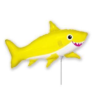 Шар 40 см Мини-фигура Акула веселая желтая