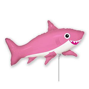 Шар 40 см Мини-фигура Акула веселая розовая