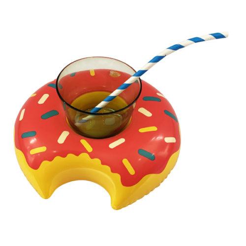 Подставка надувная Пончик малиновый 20 см