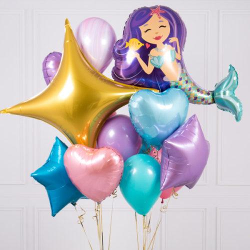 Связка шаров Русалочка с фиолетовыми волосами
