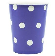 Стаканы 250 мл бумажные Горошек фиолетовый 6 штук