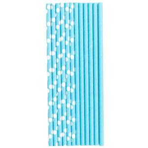 Трубочки для коктейля бумажные Горошек голубая 12 штук