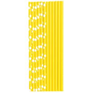 Трубочки для коктейля бумажные Горошек желтая 12 штук