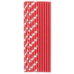 Трубочки для коктейля бумажные Горошек красная 12 штук
