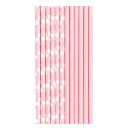 Трубочки для коктейля бумажные Горошек розовая 12 штук