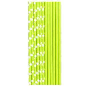 Трубочки для коктейля бумажные Горошек светло-зеленая 12 штук
