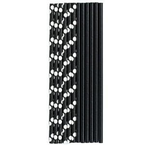 Трубочки для коктейля бумажные Горошек черная 12 штук