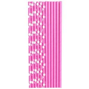 Трубочки для коктейля бумажные Горошек ярко-розовая 12 штук