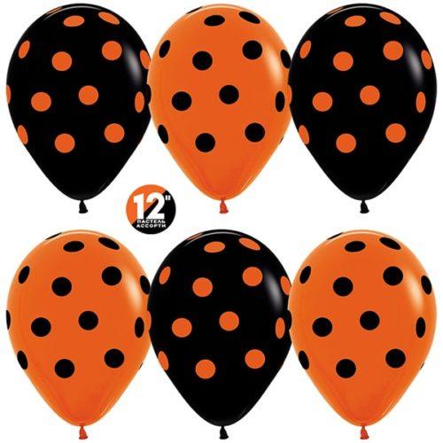 Шар 30 см Точки Оранжевый Черный Пастель
