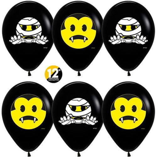 Шар 30 см Хеллоуин Emoji Черный Пастель