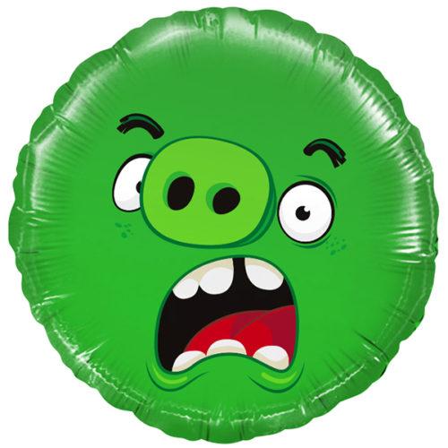 Шар 46 см Круг Angry Birds Зеленый