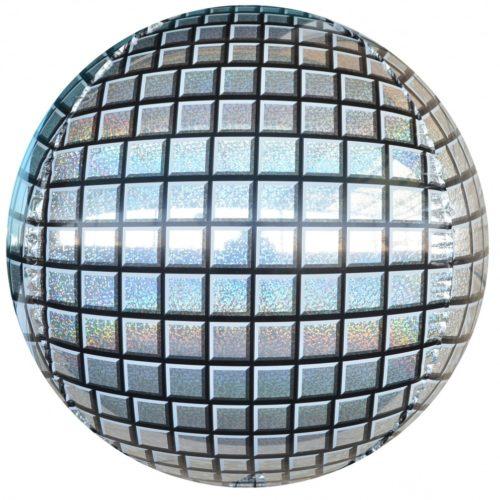 Шар 61 см Сфера 3D Диско Серебро Голография