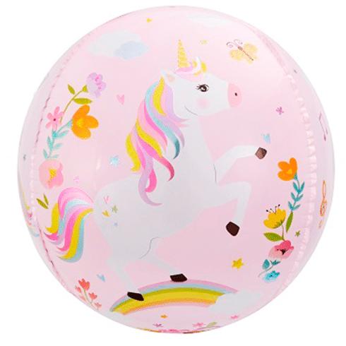 Шар 61 см Сфера 3D С Днем Рождения Волшебные единороги Розовый