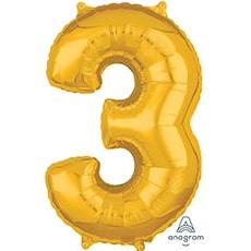 Шар 66 см Цифра 3 Золото