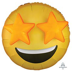 Шар 71 см Круг 3D Эмоции Смайлик Звезды