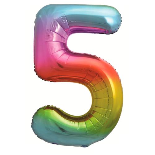 Шар 86 см Цифра 5 Яркая радуга Градиент