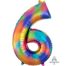 Шар 86 см Цифра 6 Всплески Радуга