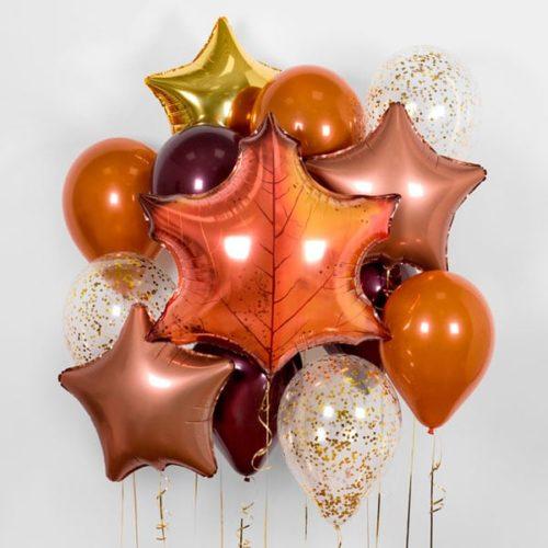 Связка из воздушных шаров Осенние листья и круглые шары с Конфетти