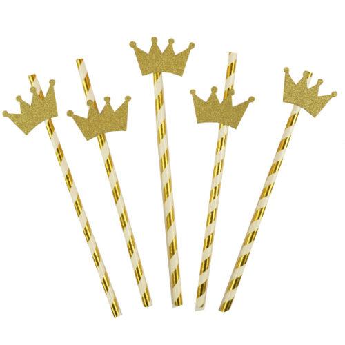 Трубочки для коктейля с золотой Короной 12 штук
