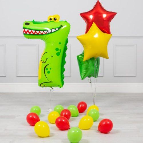 Комплект из шаров на ДР Цифра 7 Крокодил